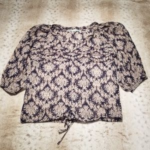 Maurices Navy BOHO Flowey Cinch Top